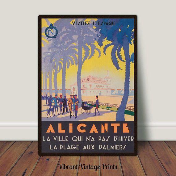 Alicante Spain Palm Trees Vintage Travel Poster Printable