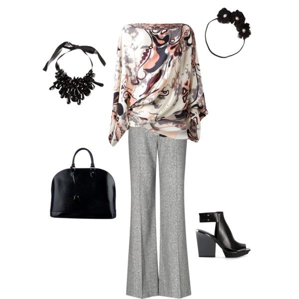 """Funky peach & grey shirt with grey pants work outfit"" by nita-costello on Polyvore"