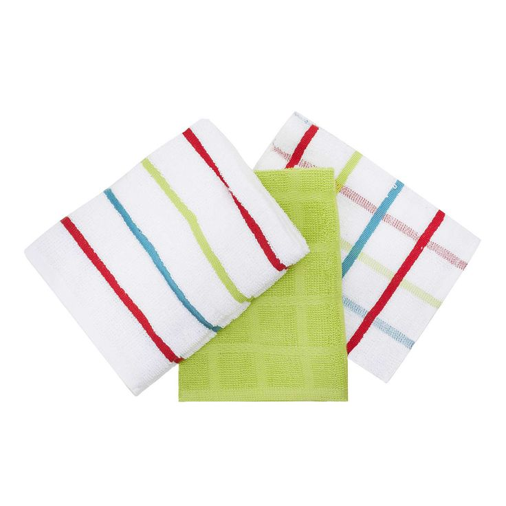 Pack of 5 Bright Terry Tea Towels | Dunelm