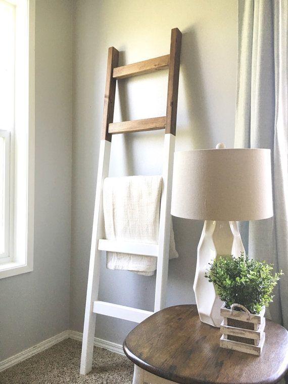 Blanket Ladder | Modern Wood Quilt Ladder | White Dark Walnut Stained | Towel Hanger | Living Room Decor | Bathroom Decor Rustic