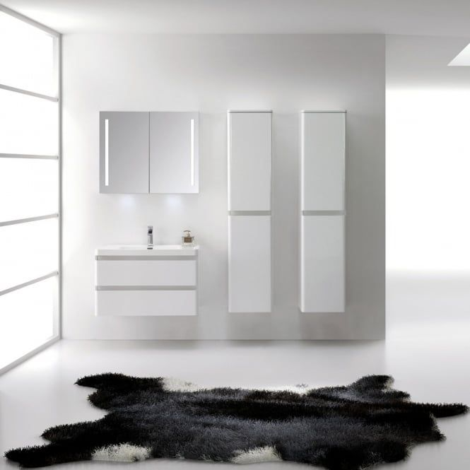 LUXURIOUS | LUSSO STONE | High Gloss White Vanity Unit