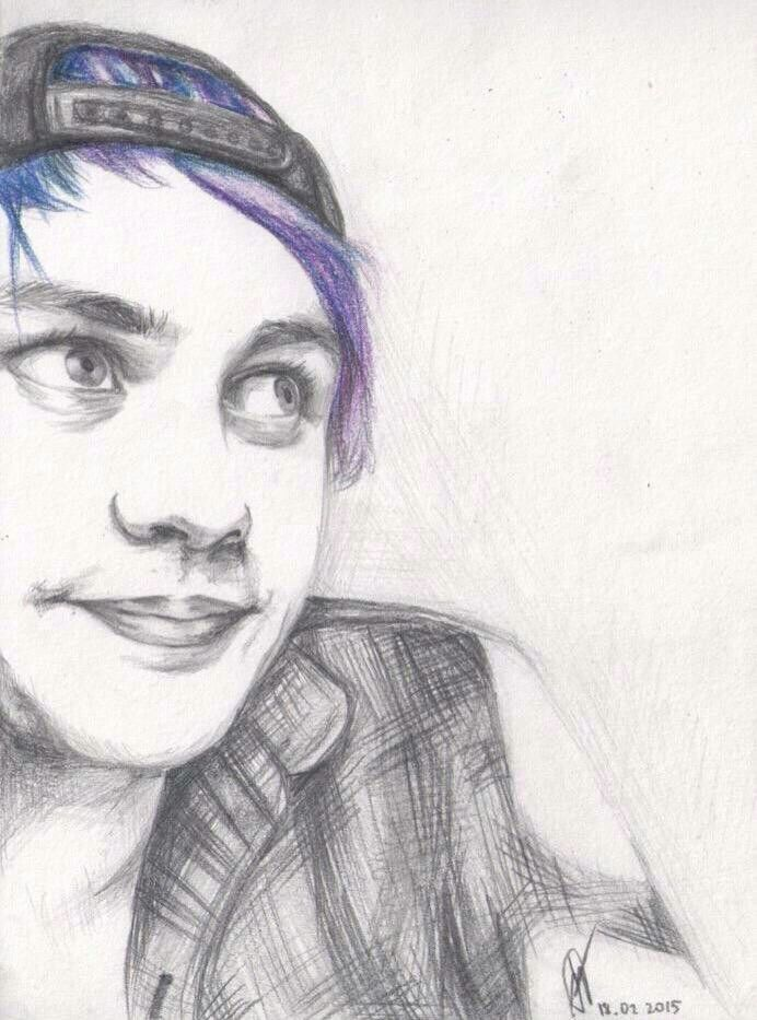 incredible drawing of mikey love the colored hair