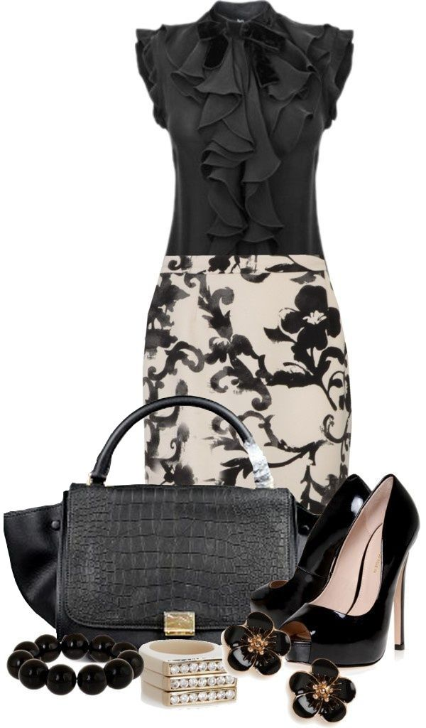 Celine Trapeze Leather Croco Handbag Black