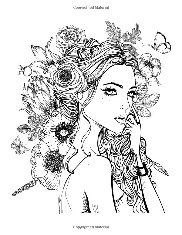 Best 898 beautiful women coloring pages for adults ideas Coloring book hair