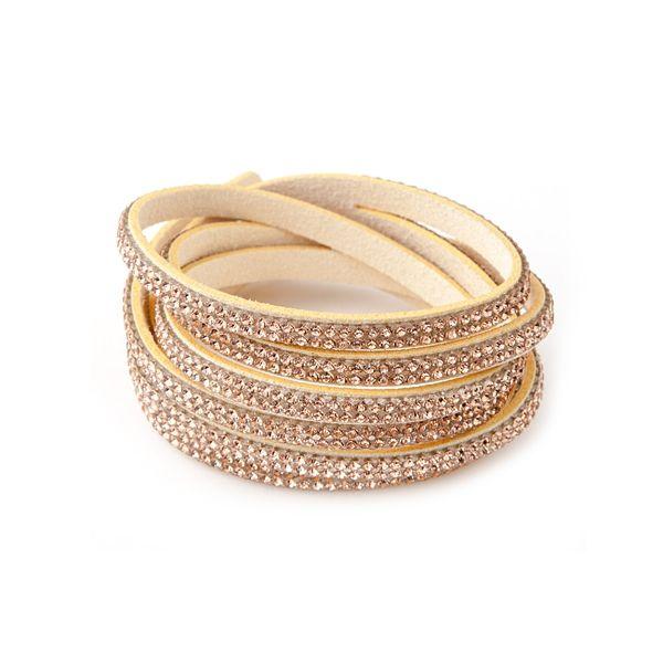 bracelet 3 rangs beige swarovski elements et velours  http://www.bluepearls.fr/fr/produits/bracelet-3-rangs-cristaux-dores-de-swarovski-elements-et-velours-beige.4427.html