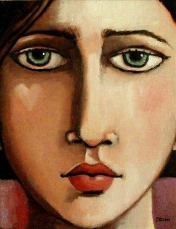 "She Wears Her Emotions on Her Cheek<br>10""x8"" original oil <br>© 2013 Jennifer Yoswa"