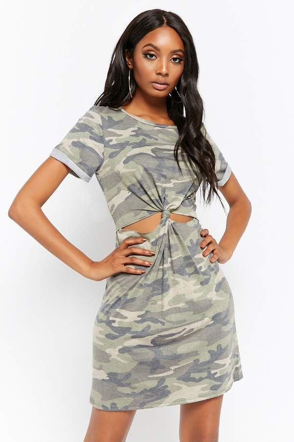 f98faae1a702e Forever 21 Camo Knotted Cutout T-Shirt Dress #women #womensfashion  #womenswear #top #dresses