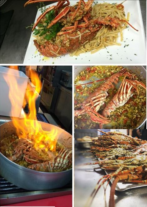 Lobster with pasta. Santorini Weddings, Wedding venue, Wedding ceremony and reception, Sunset view, wedding menu.