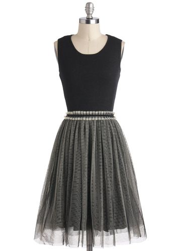 Pretty in Prague Dress - Long, Black, Grey, Party, Cocktail, Ballerina /
