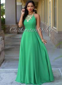 Divine Kelly Green CrissCross Back Maxi Dress