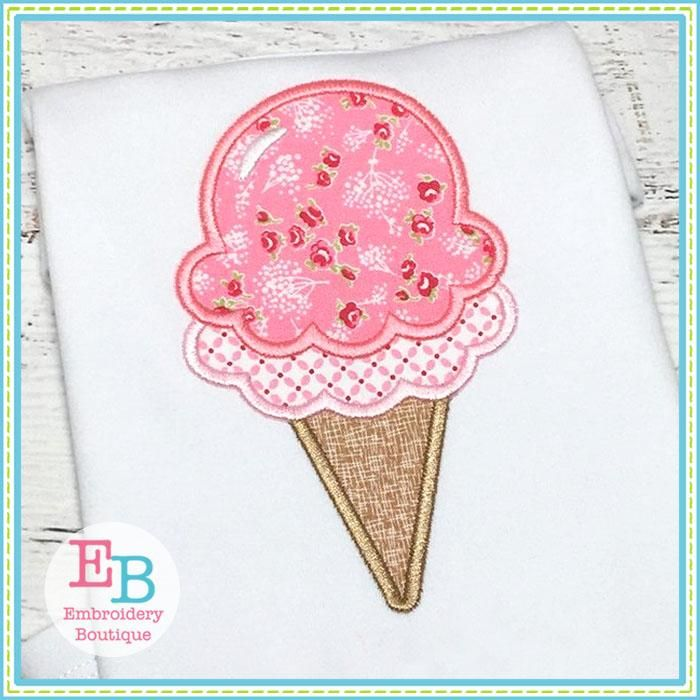 Double Dip Ice Cream Cone Applique Embroidery Boutique Ice Cream
