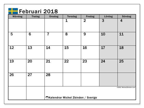 Kalender februari 2018, Sverige
