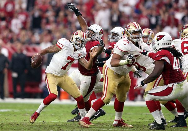Colin Kaepernick Photos Photos - Defensive end Calais Campbell #93 of the Arizona Cardinals pressures quarterback Colin Kaepernick #7 of the San Francisco 49ers during the second half of the NFL football game at University of Phoenix Stadium on November 13, 2016 in Glendale, Arizona. Arizona won 23-20. - San Francisco 49ers v Arizona Cardinals