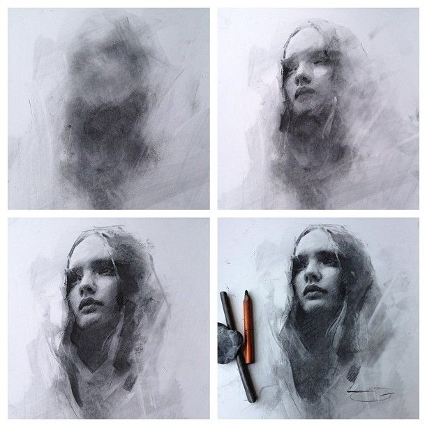general to specific #charcoal #drawing - by Casey Baugh