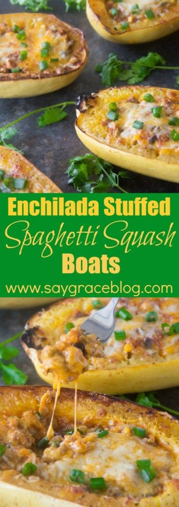 Tex-Mex enchilada flavors stuffed in a delicious and healthy roasted spaghetti squash boat makes for a fun weeknight dinner!!