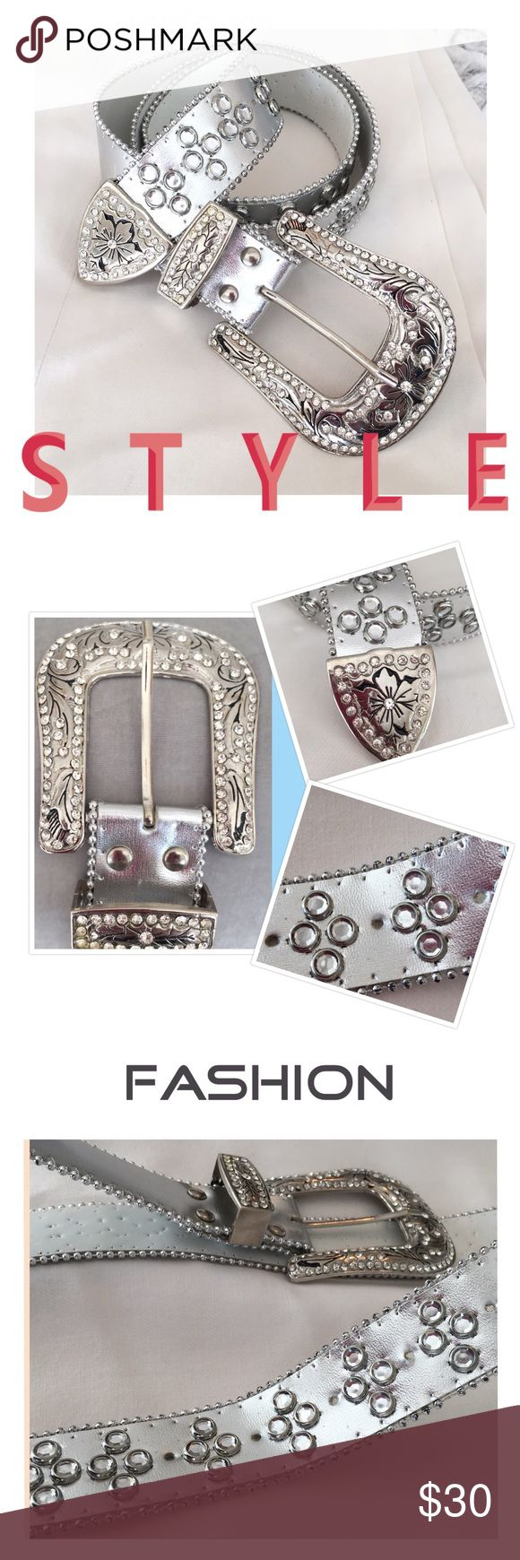 "Rhinestone Silver Belt Silver rhinestone belt,  1 1/2"" wide belt. Big 3 1/2"" x 3"" stone studded buckle with matching keeper and belt tip. Rhinestones and studs along the silver with nickel beaded edge , 5 belt holes for extended fitting. Measures 44"" in length including the buckle, without the buckle its 41"" in length.  Brand New, Without tags Accessories Belts"