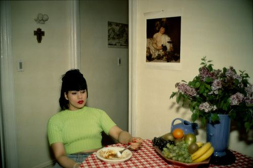 nan goldin(1953- ), gina at bruce's dinner party, new york city, 1991. silver dye bleach print, printed 2006, 76.2 x 101.6 cm. the museum of modern art, new york, usa http://www.moma.org/collection/object.php?object_id=101648 | fyi: caravaggio's bacchus http://pinterest.com/pin/15903404904323248/