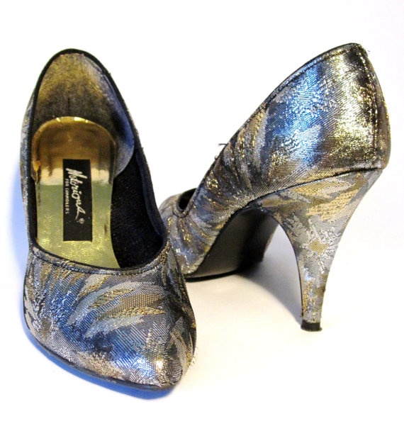 80s Gold and Silver Metallic StilettosMetals Stilettos, Silver Metals