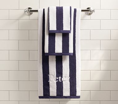 Pottery Barn Kids Rugby Stripe Bath Towel Collection Navy Blue Striped Towels Up Against The Yellow Rubber Duck Themed Bathroom Would Be Cute