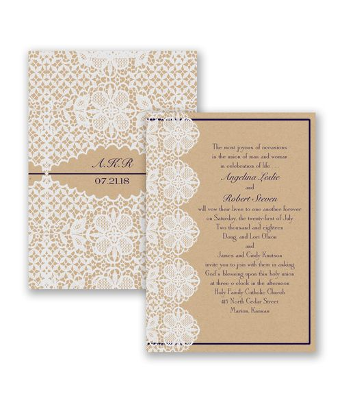 Lovable Lace Wedding Invitation by David's BridalDavid Bridal, Crafts Ideas, Discover Lace Looks, Invitations Cards, Invitations Hacks, Bridal Colors, Floral Lace, Lovable Lace, Finding Matching