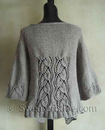 #112 Dramatic Lace Wrap (Top-Down) Cardigan Back view