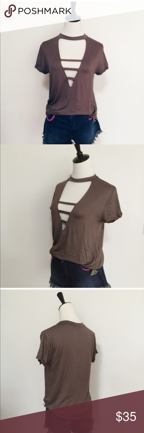 Boho ladder front shirt sleeve t shirt toP NWT Trendy front cut out ladder style short sleeve top in a beautiful mocha color. Lightweight material, 95 % rayon 5% spandex April Spirit Tops Tees - Short Sleeve