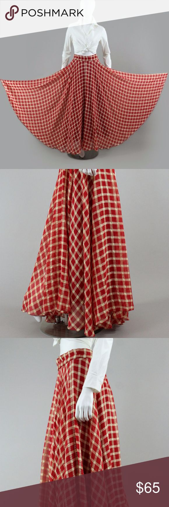 "SWEEPING PLAID FLOWING MAXI DRAPING SKIRT KILLER skirt made of a puckered cotton crepe, featuring a banded waist and fluted hemline.   Cotton gauze insert which can be very easily snipped off.  Massive sweep of 305""!  Side clasps and zip closure.  Amazing skirt in very good pre-worn condition.  Waist: 27-29"" 