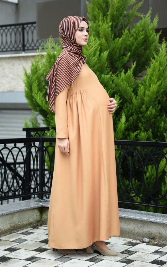 Sefamerve Bej Renk Hamile Elbise Tesettur Giyim 2020 Moda Stilleri Elbise Giyim