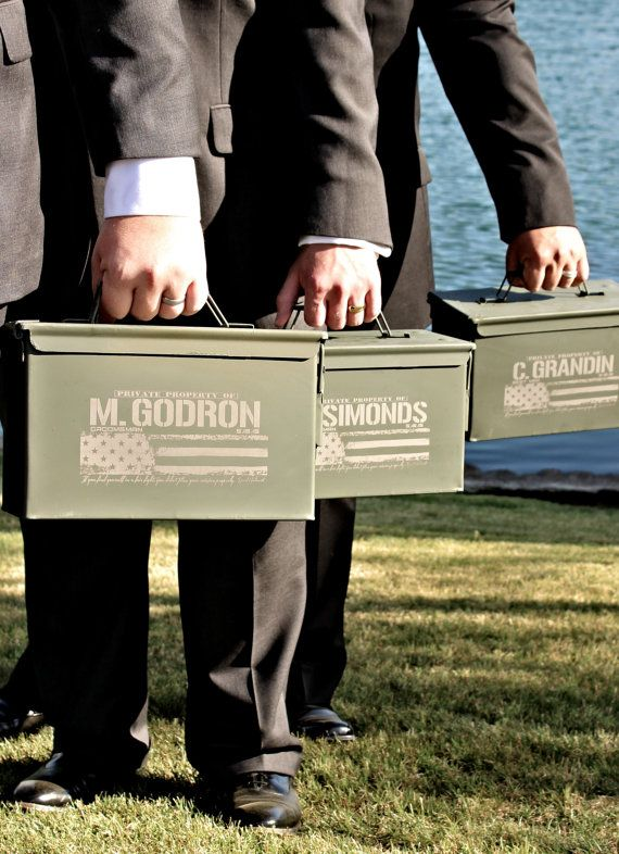 Personalized Ammo Cans for the Groomsmen & Best Man See more here: https://www.etsy.com/listing/120737758/ammunition-box-for-personalized?ref=shop_home_active_15