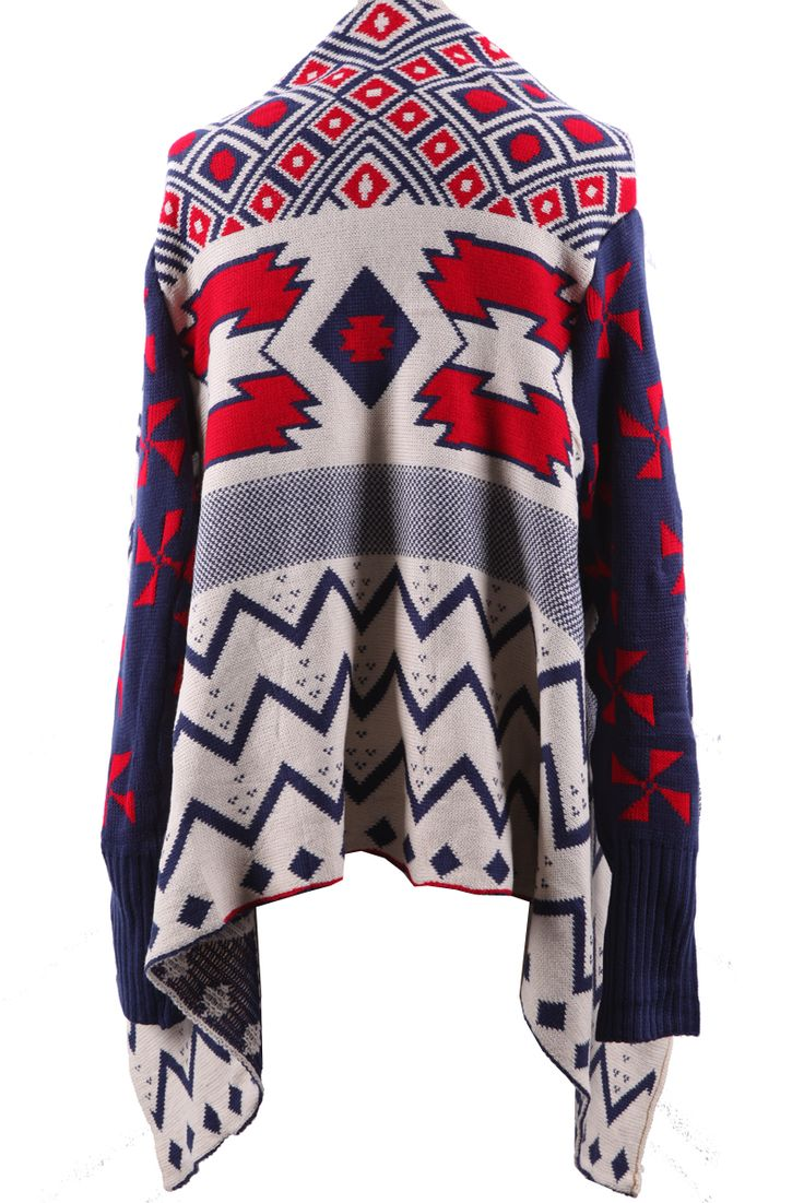 Navy, Red, White Draped Collar Geo Tribal Pattern Open Cardigan Sweater: