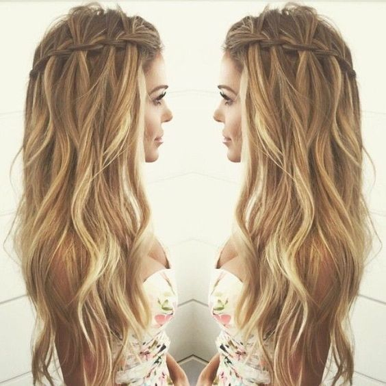 Balayage Wavy hair with Waterfall Braid Hairstyles - Casual Summer Hair Styles for Long Hair