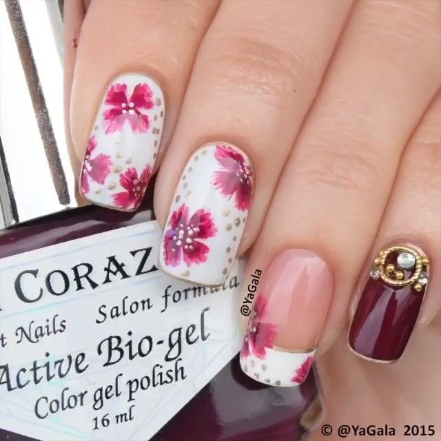 Decoración de uñas con flores - Nails with flowers