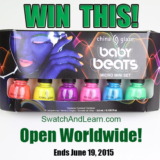 Worldwide Giveaway: Enter for your chance to win the China Glaze Baby Beats Micro Mini Set! Ends June 19, 2015 at 11:59 pm EDT (Full details are on SwatchAndLearn.com.)