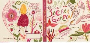 The Secret Garden embroidered book cover.