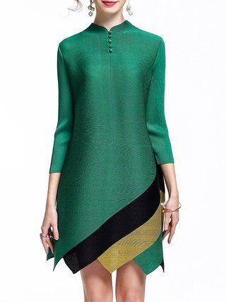 Ribbed A-line Asymmetric Mini Dress