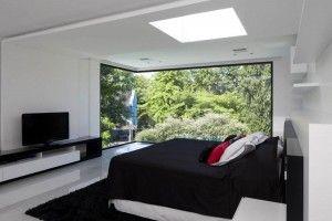 Украшения: Эксклюзивная современная Тропический Home Design вдохновляющие стеклянные стены концепция и применение - Splendid и современная спальня концепции дизайна вдохновляющие большой стакан у стены и великолепный вид на сад внешней среде версии
