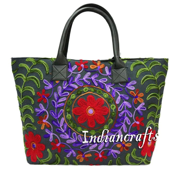 Hippie Indian Handmade Cotton Bag Suzani Embroidery Woman Shoulder Bag Boho Tote #Handmade #ShoulderBag