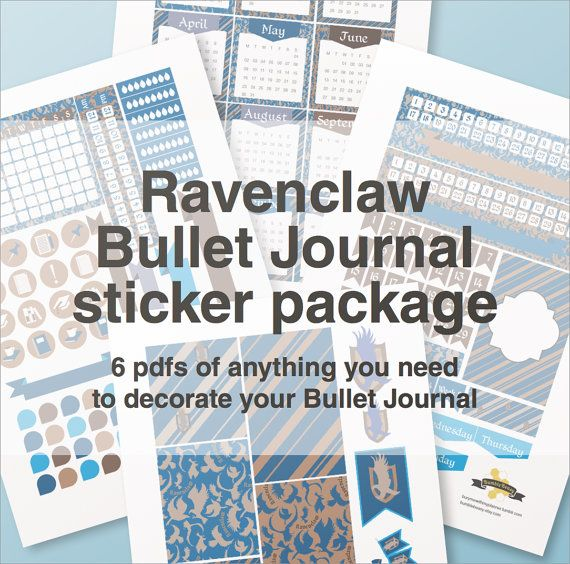 Ravenclaw bullet journal stickers package  A4  by BumbleBeasy