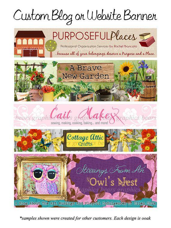 Custom Website Banner Design  Blog Banner by BearsGraphicDesign, $25.00