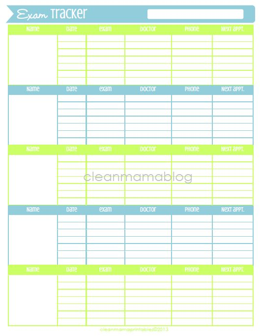 32 Best Printables~Medical Forms~Fitness Images On Pinterest