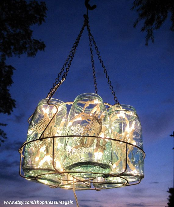 Canning Jar String Lights : Antique Lights Mason Jar Chandelier 6 Blue QUART Ball Canning Jar Basket, Upcycled Hanging Mason ...