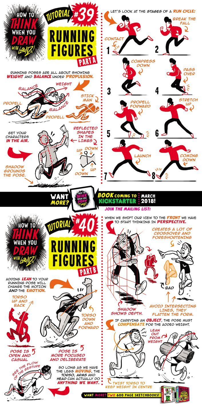 How to draw RUNNING FIGURES tutorial by STUDIOBLINKTWICE
