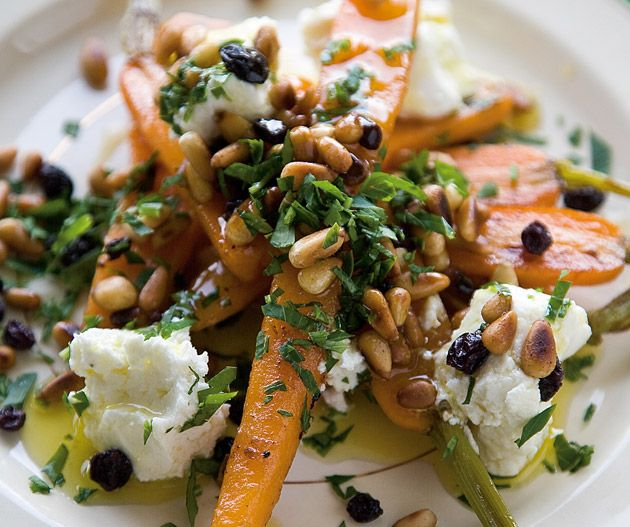 Carrots in verjuice with goat's cheese and pine nuts by Maggie Beer. Photograph © Simon Griffiths.
