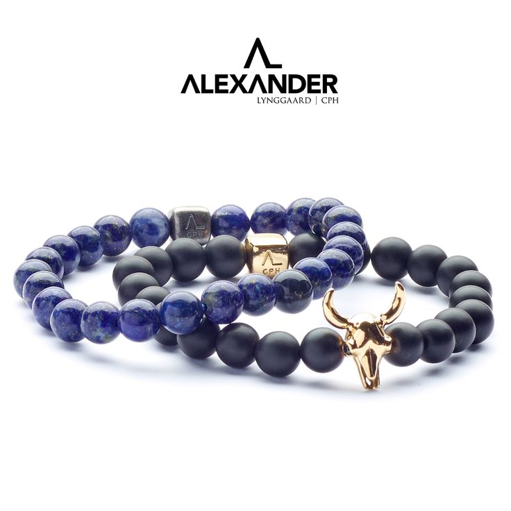 Our signature bull skull in 18K gold with black diamonds and black onyx matte together with our raw lapis bracelet.