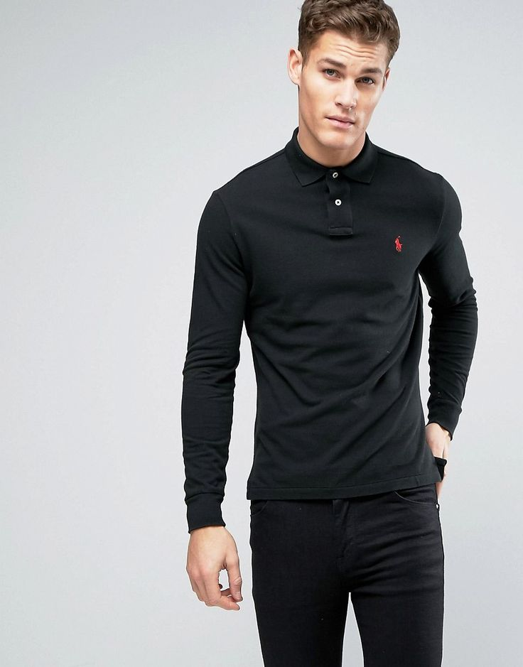 Get this Polo Ralph Lauren's polo shirt now! Click for more details. Worldwide shipping. Polo Ralph Lauren Long Sleeve Polo Shirt in Custom Regular Fit - Black: Polo shirt by Polo Ralph Lauren, Breathable cotton pique, Polo collar, Two button placket, Embroidered polo player, Custom fits regular � true to size, Machine wash, 100% Cotton, Our model wears a size Medium and is 193cm/6'4 tall. Naming his brand after a game that embodies classic style, Ralph Lauren created Polo Ralph Lauren in…