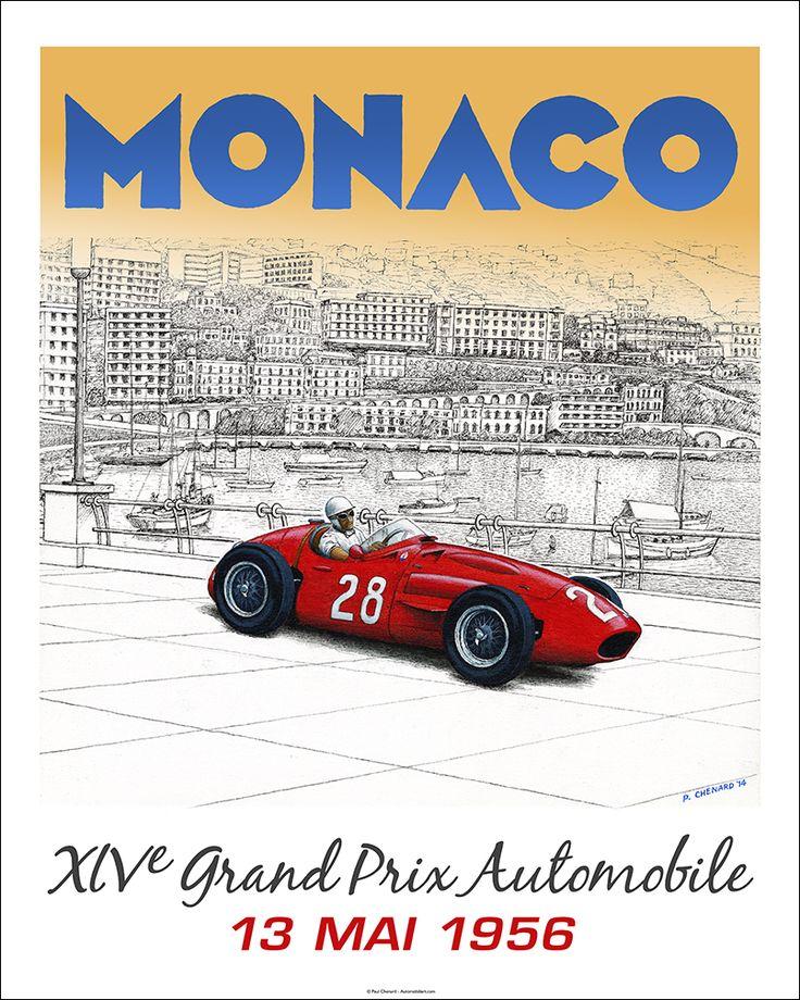 """Faux"" 1956 Grand Prix de Monaco poster - Sir Stirling winning in a Maserati 250F. 16""x 20"" limited edition of 50. © Paul Chenard"