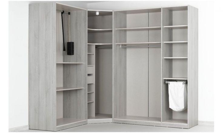 Dressing d'angle Solano - L 250 x l 200 x h 240 x p 58 cm - chêne grisé - Dressing