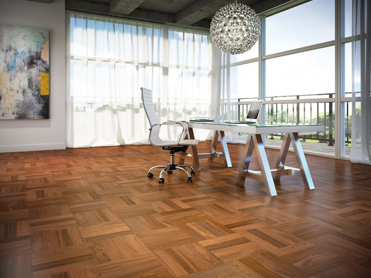 Beautiful home office featuring Lauzon Brazilian Cherry hardwood flooring. An exotic hardwood flooring installed in parquet pattern from our International Series. Available with Pure Genius, Lauzon's new air-purifying smart floor #PureGenius #airpurifying #smartfloor #interiordesign #homedecor #hardwooflooring #ArtFromNature
