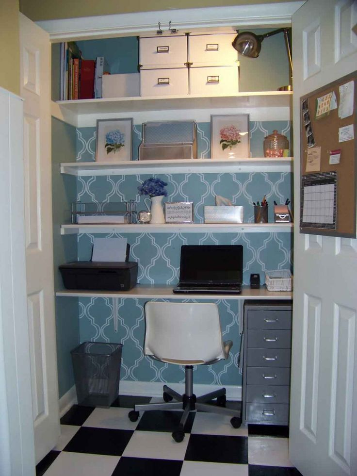 Home Interior, Increase Your Working Productivity Through Creative Office  Home: Blue Wardrobe Office Home