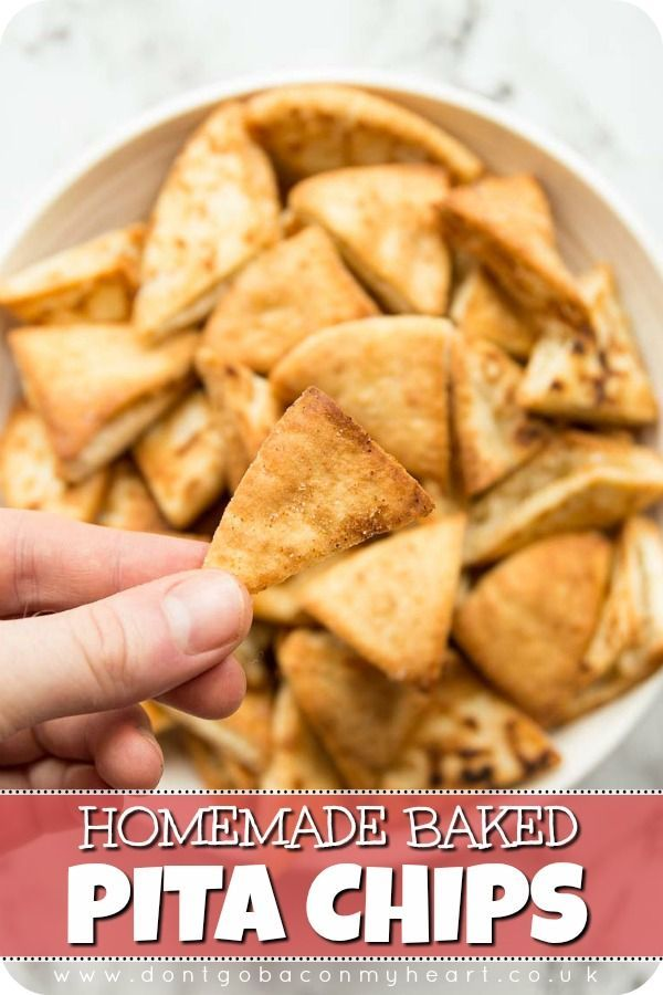 These Homemade Pita Chips are the ultimate edible dipping tool! With just a few ingredients, these pita chips are baked in the oven and come out perfectly crispy! #pita #pitabread #pitachips | www.dontgobaconmyheart.co.uk